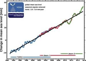 canvi nivell del mar, promig anual